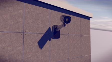 безопасность : Security CCTV camera mounted on the building wall as apart of private property protection system Стоковые видеозаписи