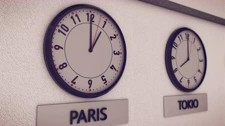 greenwich : Clocks show time in different cities on white wall(New York, Paris, Tokio, Moscow, Sydney). Symbol for Greenwich Mean Time Stock Footage