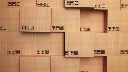 paketleme : 3d stack of cardboard boxes with horizon movement Stok Video