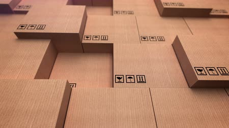 tektura : 3D rendering of a distribution warehouse. Stacks of cardboard boxes.