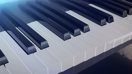 piano parts : Grand piano keys deforms in length with mirror reflections. Abstract concept of the classic music.