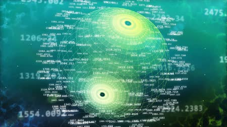 Abstract digital big data rise up on a green and polygon sphere backdrop. World of big data.