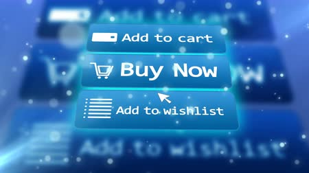 add to cart : 3 button of online shop and mouse arrow over them. Add to cart. Buy now. Add to wishlist. Concept of online internet shopping e-commerce.