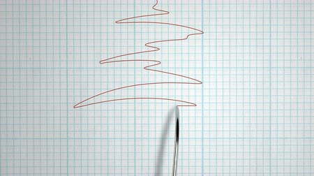 agulha : A closeup animation of a polygraph lie detector test needle drawing a red line on graph paper on an grid white background