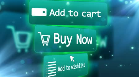 add to cart : A Mouse Arrow presses on Buy Now, Add to Wishlist and Add to Cart buttons. Web Internet Shopping concept. Stock Footage