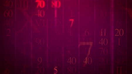 numerology : Loopable Blinking Roman figures and numbers figures move at camera on a red background.