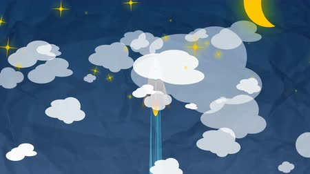 projects : Cartoon Flat rocket flying up though clouds, Moon and Planets. From day to night. Stock Footage