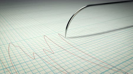 agulha : A polygraph lie detector machine drawing red lines on graph paper Stock Footage