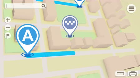 local : Animation of City map with GPS Icons. Seamless loop.
