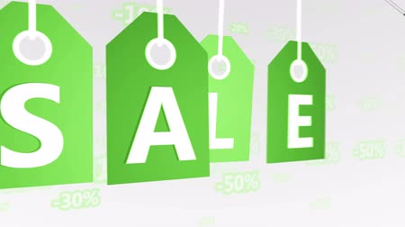pricetag : Animation of Green Hanging Price Tags, sale labels. Seamless loop.