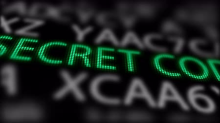 шифрование : Green -Secret Code- between searching of abstract passwords with Shallow Depth of Field. Стоковые видеозаписи