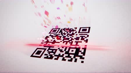 сканирование : Amusing 3d rendering of a QR code scanner which uses red lazer, analyses a black and white code, placed askew, and gets pink information in letters, numbers, specific signs, in the white background