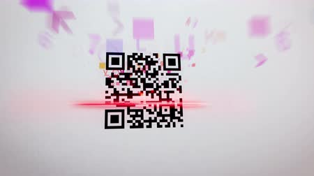 сканирование : Funny 3d rendering of a QR code scanner which uses red lazer, analyses a black and white code, and receives tons of information in letters, digits, specific signs, in the white background
