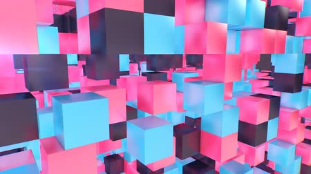 superb : Holographic 3d cube background from pink, black, violet, blue, dices. They create an optical art effect and look superb. The cube walls have empty openings.