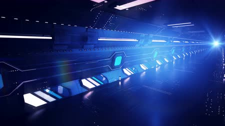 úgy néz ki : Sci-fi 3d rendering of a dark blue tunnel with a metallic surface, white and light blue windows. The fast ride is made from the diagonal perspective. It looks like hi-tech.
