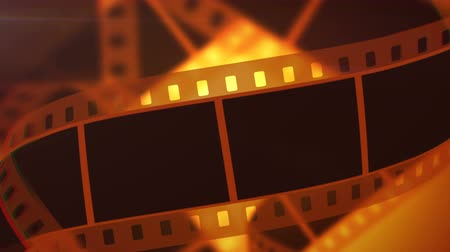 tapeçaria : A retro 3d rendering of a film making a tape of white and black colors. The film tape moves horizontally and slowly in the bright yellow background.