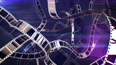 úgy néz ki : An impressive 3d rendering of a violet and white cinematographic film tape movement. The film tape turns around in a curvy reel looking way. It looks like if it is inside of a film projecter.