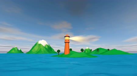 балки : A cheerful 3d rendering of a low poly seascape with blue waters, islets, searchlight on a brown tower, white boat going sailing around the island with a green hill and a light house.
