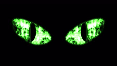 panthers : A monstrous 3d rendering of big black cat eyes with black irises and green retina with shimmering white flashes of flame. The eyes get gradually white color. Stock Footage