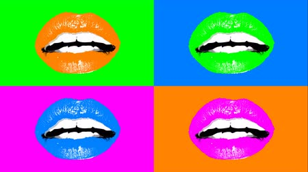 sensível : A popular art 3d rendering of sensual young female lips in bright colors. Four pairs of sexy lips shimmer and change colors. It looks like a mixture of arty expression and advertising. Vídeos