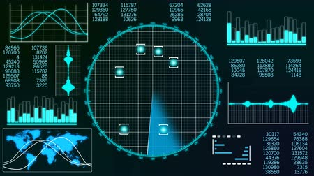blip : A professional 3d rendering of a radar screen to detect flying airplanes. It displays line bars, world man and circular blue grids with sparkling spots in the black background. Stock Footage