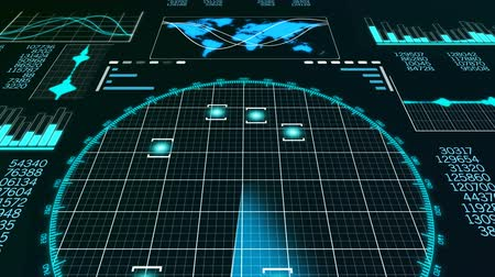 blip : An impressive 3d rendering of a radar screen to search flying aircraft. It sparkles with line bars, world man and round blue grids with shining spots in the black background. Stock Footage