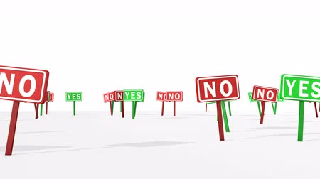 accepting : A panoramic 3d rendering of Yes and No signs of red and green colors in the white background. They symbolize the two color voting system restricting the freedom of people Stock Footage