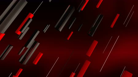 inclinado : A geometric 3d rendering of red, grey and black lines rushing askew in the brown background. The lines are straight and move as if they are a part of some cyber device. Stock Footage