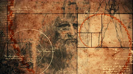 obra prima : An amazing 3d rendering of code Da Vinci picture with a portrait of the old bearded genius from Italy, a virtuvian man and a moving spiral line covering moving images.