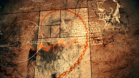 evrensel : A geometric 3d rendering of Code Da Vinci looking like a moving spiral and rotating circles imposed on the portrait of the old Italian master and some renaissance drawings. Stok Video