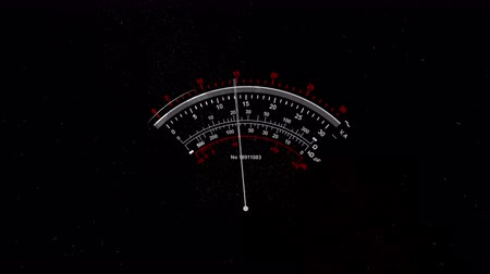 tachometer : A striking 3d rendering of a special gauge with white arrows and three lines of white and red numbers on the black background. It shimmers and moves back and forth Stock Footage