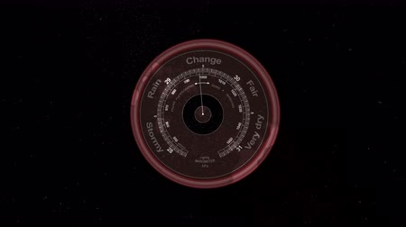 tachometer : An astonishing 3d rendering of a circular gauge with such inscriptions as change, dry, rain, stormy, and fair. It has three lines of digits and a white arrow in the black backdrop.