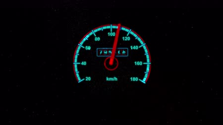 velocímetro : A realistic 3d rendering of a round speedometer measuring kilometers per hour with a red and sky blue circles with numbers and a shaky arrow in the black background.