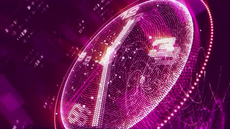 pikselli : An amazing 3d rendering of a luminous violet clock changing places with white second, minute and hour arrows rotating fast around the clock. They say that life is too short. Stok Video