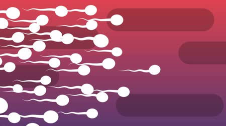 plemniki : A funny 3d rendering of moving white spermatozoids with waving tails covering the light violet and purple background with oval black tubes. All of them look lively