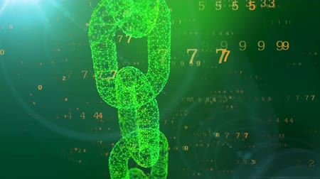 fidedigno : A computer graphic 3d rendering of a moving vertically green chain protecting the cyberspace against the flying horizontally yellow digits of a programmed matrix in the blue backdrop.