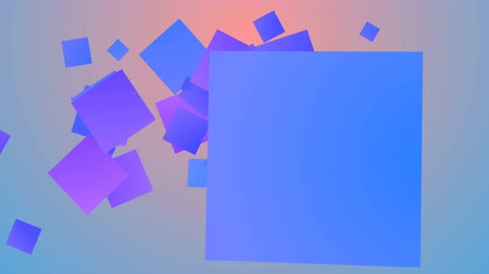 enjoyable : A merry 3d rendering of dashing big and small squares of orange, red, celeste, yellow and white colors frolicking joyfully in light blue and black background.