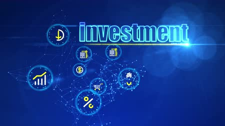 портфель : A wonderful 3d rendering of the investment projects presented like icons in yellow circles on a blue computer screen. The most frequent are dollars, shopping and eco energy.