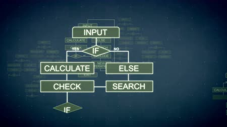 caqui : A graphic 3d rendering of computing algorithms appearing in the dark khaki background with tablets, lines, words and sparkling spots. All of them are interconnected. Stock Footage