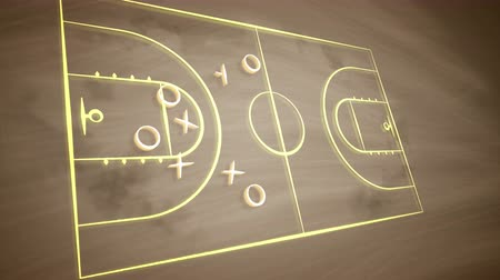 vývojový diagram : An exciting 3d rendering of a basketball field placed askew and covered with crosses, zeroes and arrows. It shows how the team should play together to outwit the rival players. Dostupné videozáznamy