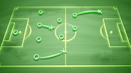 tuned : A well-tuned 3d rendering of a soccer field covered with zeroes, crosses and arrows. It shows how the team should give passes to score a goal and to get the victory. It looks fine Stock Footage