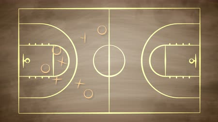 flowchart : A working 3d rendering of a basketball field covered with crosses, zeroes and arrows. It shows how the team should play together to win the rival players. It looks successful and fine Stock Footage
