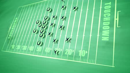 victorious : A holographic 3d rendering of a sport field for American football field put aslant and covered with zeroes and arrows. It displays the tactics of attack players to do a touchdown