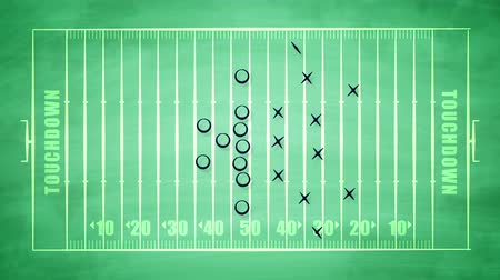 victorious : A striking 3d rendering of a sport field for American football field covered with zeroes, crosses and arrows. It shows the tactics of attack players trying to do a touchdown.