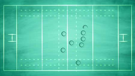 vývojový diagram : An impressive 3d rendering of a sport field for American football field covered with zeroes and arrows. It shows the tactics of defense players trying to stop the attack and to win.