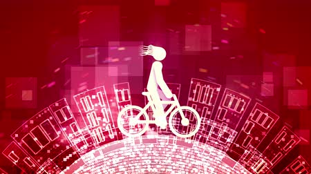 pneu : An impressive 3d rendering of an abstract young man riding a white bicycle in the purple background. The round Earth with high buildings spins under the wheels. Stock Footage