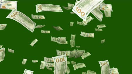 lavish : A lavish 3d rendering of falling American dollars in the khaki and black background. They fly and twirl in an optimistic way and create the mood of success and prosperity. Stock Footage