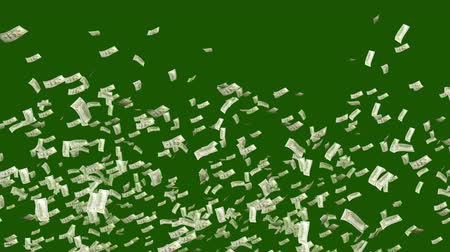 jovial : A wealthy 3d rendering of falling American dollars in the dark green background. They spin and revolve in a joyful way and create the mood of success and happiness. Vídeos