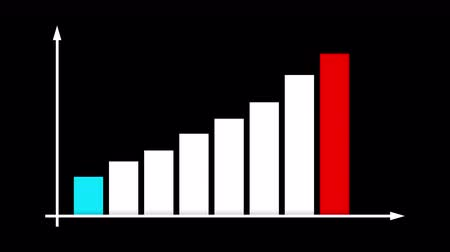 de aumento : An impressive 3d rendering of a bar graph chart with blue, white and red columns increasing and decreasing according to a vertical line with a spiky arrow in the black background.