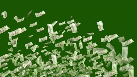 blasting : A celebratory 3d rendering of American dollars blasting like a cheerful salute and flying in the dark green background. They make circles in a hilarious and optimistic way. Stock Footage